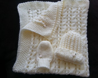 hand-knitted beautiful baby blanket (cream)-blanket only