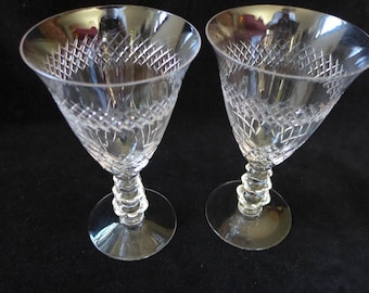 Vintage  Set of 2 Crystal Wine Glasses /Stemware Diamond Design Excellent!  Replacement, Weddings,Parties,Holidays