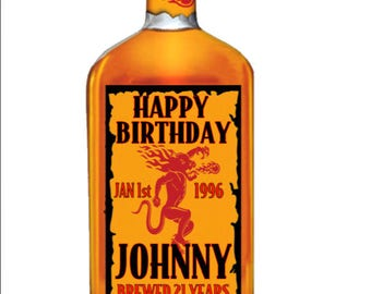 Printable Set of Happy Birthday Fireball Labels Brewed For Happy Birthday Stickers - Any Size - Party Celebration Any Age Peel and Stick