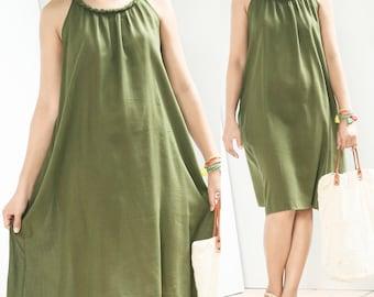 Pleated Cotton Boho Summer Dress With Baided Neck, Comfy Casual Beach Sleeveless Halter Dress, Knee Length, Green
