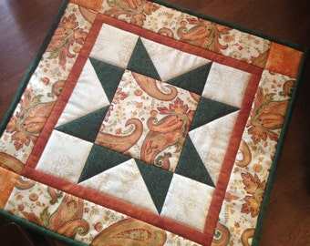 Quilted Fall Paisley Table Topper