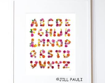 Flower Alphabet Wall Art
