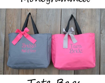 10 Personalized Bridesmaid Gift Tote Bags- Bridesmaid Gift- Personalized Bridesmaid Tote - Wedding Party Gift - Gray and Hot Pink Name Tote-