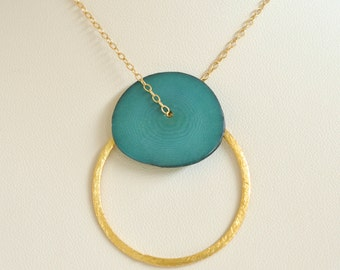 Tagua Nut Necklace- Gold Filled Necklace- Gold Circle Pendant- Aqua Necklace- Tagua Necklace- Circle Necklace- Geometric- Bridesmaid Jewelry