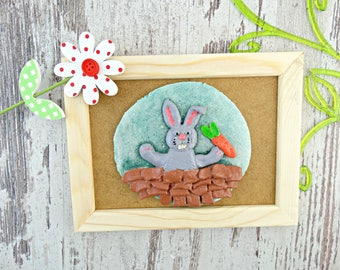 Easter Bunny Ornament - Handmade Salt Dough Framed Picture of an Easter Bunny  - Asperger Craft - Easter Decor - Rabbit with Carrots