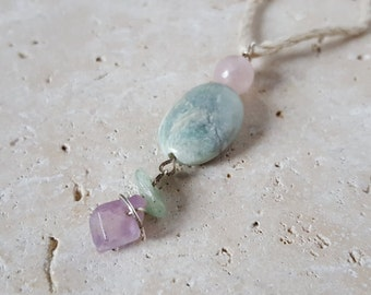 Natural Amazonite Pendant with Rose Quartz and Amethyst, Genuine Stone Necklace, Healing Crystals, Teal Aqua Pink & Purple Gemstone