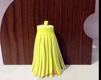 2 faux leather 60mm yellow tassels