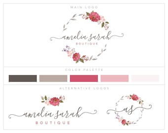 Mini Branding Package, Photography Logo and Watermark, Watercolor Floral Wreath Premade Marketing Kit bp75