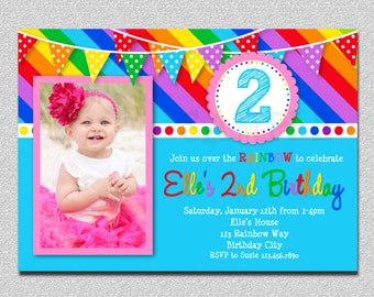 Rainbow Birthday Invitation, Rainbow Kids Birthday Invite 1st, Rainbow party, Rainbow Birthday Party, Rainbow 1st Birthday Invitation