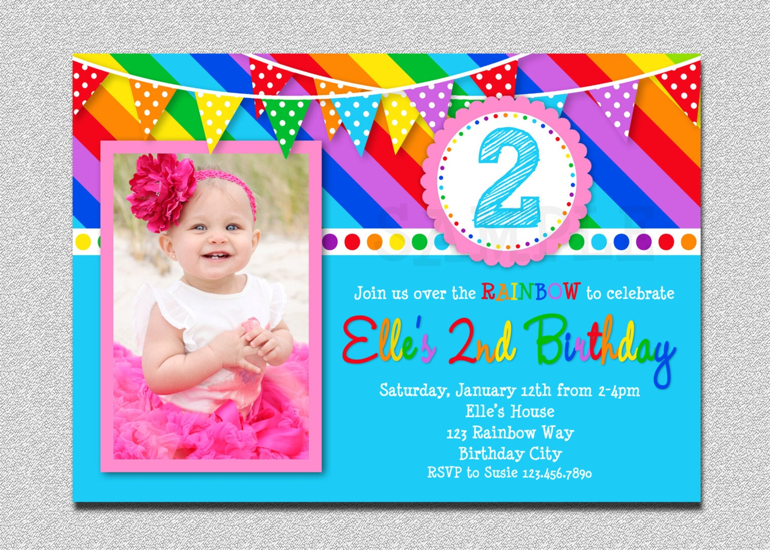 Rainbow Birthday Invitation Rainbow Kids Birthday Invite 1st