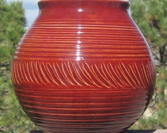 Christmas Red Large Vase - Visit shop for more Handmade Pottery