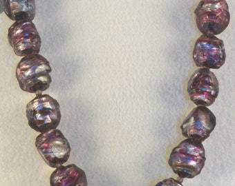 Beautiful Purple Beads Necklace // Dichroic Beads // Handmade Beads // Freestyle Beads // Short Style // Strong Magnet Closure