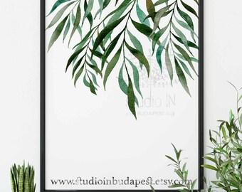 Green leaf poster, Tropical green wall art, Greenery wall, Tropical wall decor, Tropical green leaf, foliage wall decor,