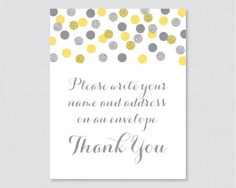 """Yellow and Silver Address an Envelope Sign - Printable Download - Glitter """"Please Write Your Name and Address on an Envelope"""" Sign - 0001-Y"""