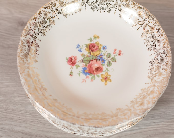 Vintage Soup Bowls - Set of 8 Keystone Canonsburg Floral Bowls with Warranted 22k Gold - Ornate Pink Flowers -Made in England Dinnerware