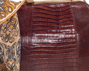 Ladies Top Handle, Brown, Genuine Lizard, Alligator, Reptile, Handbag, Clutch, Evening Bag, Satchel, Purse, circa 1940/50s