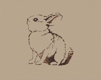 Little Bunny counted cross stitch pattern pdf Easter Bunny cross stitch chart Brown rabbit cross stitch gift tag silhouette bunny pattern
