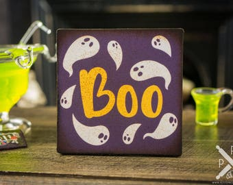 Miniature Boo Ghost Sign - Decorative Halloween Sign - 1:12 Dollhouse Miniature