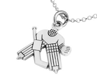 "Hockey Goalie Silver Charm Necklace, Hockey Goalie Gift, Ice Hockey jewelry, 18"" Silver chain"