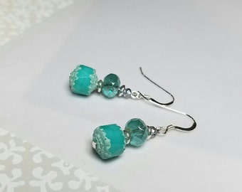 Teal and white, fire polished, Czech beaded earrings