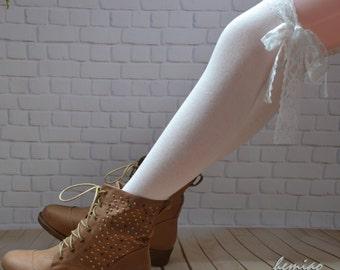 White lace thigh high socks, Knee high socks- socks women knee Socks -socks