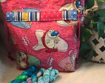 Medium Sock Bag, project bag, knitting, crochet