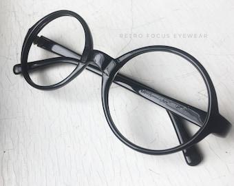 70's Oversized NOS Round Eyewear Prescription Black Glasses Eyeglasses Frames Vintage Made in USA Welling