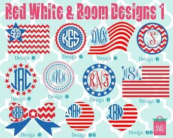 Monogrammed American Vinyl Decals - Monogrammed Decals - Monogram Vinyl - Red, White & Blue - Merica - America - American flag - USA Flag