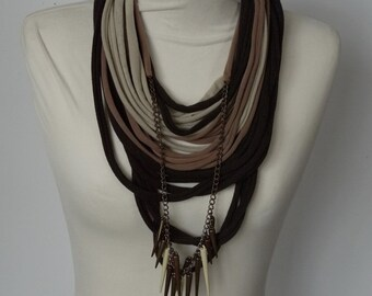 Upcycled t-shirt scarf: Browns with effective pendant [716]