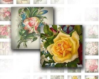 Victorian flowers 1 inch squares digital collage sheet ephemera download art jewelry making paper supplies (003)BUY 3 GET 1 FREE