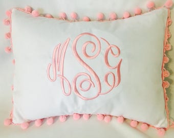 "Monogrammed Pillow Cover - Pom Pom Pillow Cover- Personalized Pillow Cover - Name Pillow - 14x10"" Pillow Cover - Monogrammed Pillow"