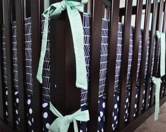 Crib Bumper: Herringbone and Mint