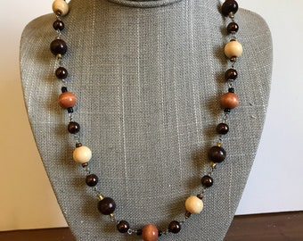 Brown Beaded 22 inch necklace, Brown Necklace, Wood and Glass Necklace, Beaded Brown Necklace,