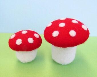 Felt toadstools - miniature woodland toys
