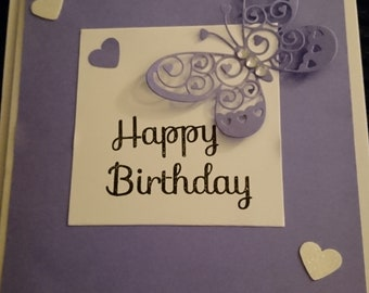 Butterfly and love hearts birthday card