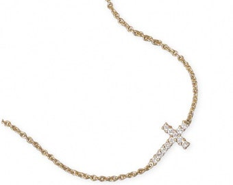 16 inch 14 Karat Gold Plated Necklace Sterling Silver with Sideways CZ Cross Pendant
