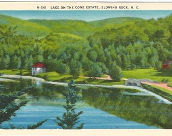 Lake on the Cone Estate Blowing Rock North Carolina Vintage Postcard Linen Postcard approx 1930's-1940's