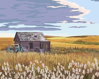 Kansas - Wheat Fields & Homestead - Lantern Press Artwork (Art Print - Multiple Sizes Available)