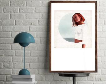 Women's illustration, figure drawing, Print girl, poster, slow life, parete decor, digital art download, instant download