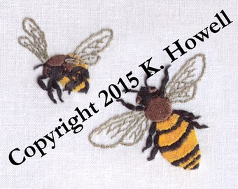 Bee Hand Embroidery Pattern, Bees, Honey Bee, Bumble Bee, Pollinator, Bug, Insect, Pollen, Hive, PDF