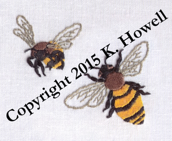 Bee Hand Embroidery Pattern Bees Honey Bee Bumble Bee