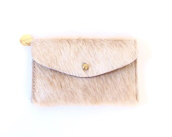 Beige Leather Wallet - Beige Hair on Hide Wallet - Light Brown Pony Hair Wallet - Beige Fur Clutch