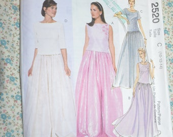 McCalls 2520 Evening Elegance Misses Top and Skirt Sewing Pattern - UNCUT - Size 10 12 14