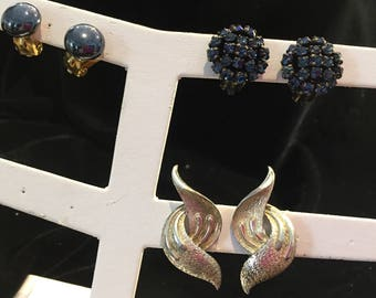 earrings - vintage - used - some wear but still pretty - 3 pair -  item no. VE27
