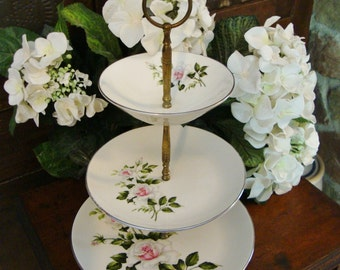 Three TierTidbit, Cake Stand, Candy Dish, Snack Tray With Roses