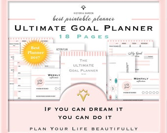 GOAL PLANNER, printable planner, goal tracker, planning goals, habit tracker, planner pages, goals, A5, printable, planner inserts