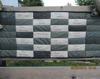 Queen-Size Signature Quilt; Memory Quilt; Wedding Book Quilt; Baby Shower Quilt; Family Reunion Quilt; Bar Mitzvah Quilt
