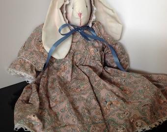 Original Primitive Folk Art Doll / Whimsical Folk Art Rabbit Doll / Rabbit Girl Art Doll Stuffed bunny doll Easter bunny Handmade doll