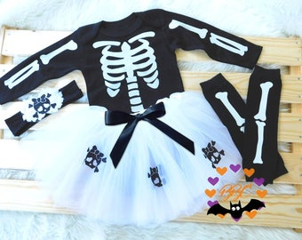 Bad to the Bone, Baby Girl Halloween Outfit, Skeleton Baby Halloween Costume, Baby Skeleton, Day of the Dead Outfit, Skull and Crossbones