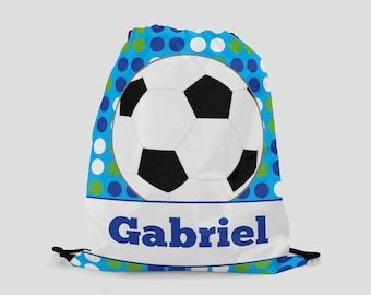 Soccer Drawstring Backpack - Green and Blue Dots with Soccer Ball - Personalized Bag - Sports Bag